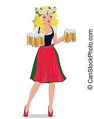 La chica rubia con cerveza en un vestido tradicional. Ilustración vectorial.