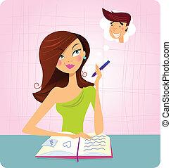 La chica sueña despierto mientras estudia