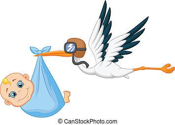 La cigüeña Cartoon lleva un bebé