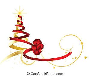 La cinta roja y dorada envuelven y forman un árbol de Navidad.