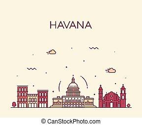 La ciudad de La Habana, Cuba vector lineal estilo ciudad