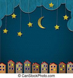 La ciudad de papel por la noche