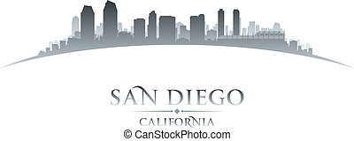 La ciudad de San Diego California silueta de fondo blanco