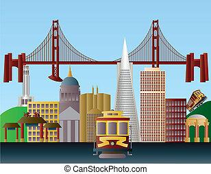 La ciudad de San Francisco Ilustración Skyline