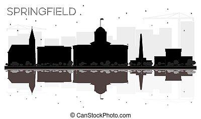 La ciudad de Springfield Illinois está en el horizonte en blanco y negro con reflejos.