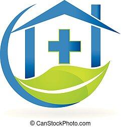 La clínica médica simboliza el logotipo de vector de naturaleza