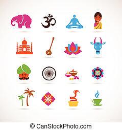 La colección de íconos vectoriales de la India