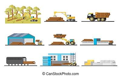 La colección de elementos de producción de madera