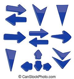 La colección de flechas 3D sobre blanco