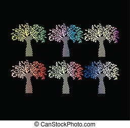 La colección de gradientes con estilo para imprimir el árbol de la vida.