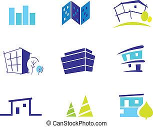 La colección de iconos para casas modernas inspiradas por la naturaleza y la simplicidad. Ilustración del vector.