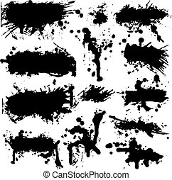 La colección de manchas de tinta del vector grunge
