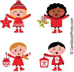 La colección de niños navideños en blanco