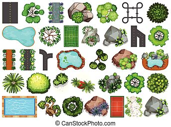 La colección de objetos temáticos de naturaleza exterior y elementos de planta