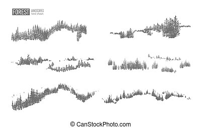 La colección de paisajes de bosques siempre verdes con siluetas de árboles coníferos creciendo en colinas de mano dibujadas en colores blancos y negros. Los elementos decorativos de monocromo natural. Ilustración de vectores