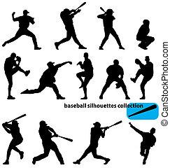 La colección de siluetas de béisbol