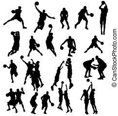 La colección de siluetas de basquetbol