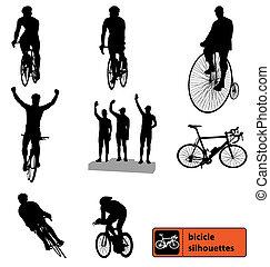 La colección de siluetas de bicicletas