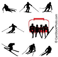 La colección de siluetas de esquí