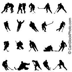 La colección de siluetas de hockey