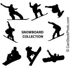 La colección de siluetas de snowboard