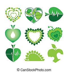 La colección de vectores logos de salud y el ambiente en forma de corazones y hojas