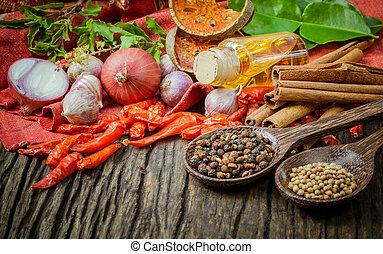 La comida tailandesa cocina ingredientes. - Sabor de especias