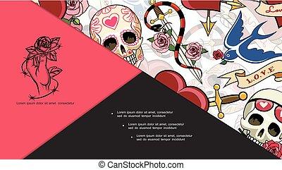 La composición de los tatuajes Sketch