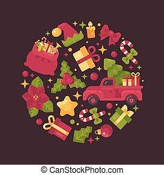 La composición del círculo rojo y verde hecha de elementos de Navidad y Año Nuevo