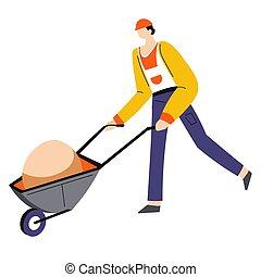 La construcción funciona, el hombre empuja la carretilla, el personaje masculino aislado