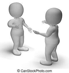La conversación entre dos personajes 3D muestra comunicación