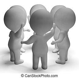 La conversación entre tres personajes muestra comunicación y discusión