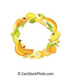 La corona amarilla de vegetales frescos y frutas. Ilustración de vectores sobre fondo blanco.