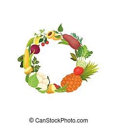 La corona de diferentes vegetales y frutas. Ilustración de vectores sobre fondo blanco.