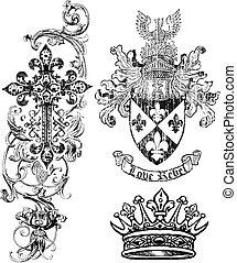 La corona de escudos de la realeza