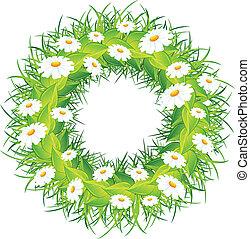 La corona de flores redondas