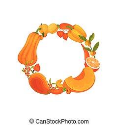 La corona de naranja de vegetales y frutas de monocromo. Ilustración de vectores sobre fondo blanco.