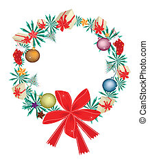 La corona de Navidad con adornos navideños y lazo rojo