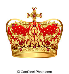 La corona de oro real con piedras preciosas rojas
