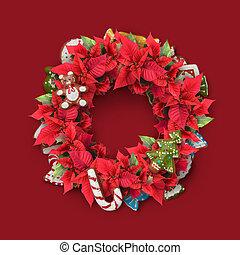 La corona de ramitas de Navidad