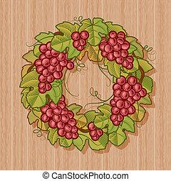 La corona de uvas retro