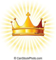 La corona dorada sobre el resplandor del backgroun
