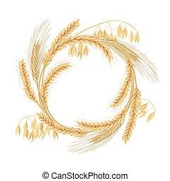 La corona hecha de trigo, cebada, avena y picos de centeno. Cuatro cereales granos con orejas y espacio libre