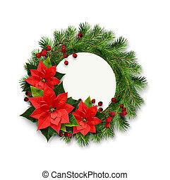 La corona navideña de ramas de pino, bayas y flores ponsettia con espacio de copia para texto