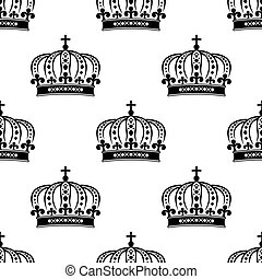 La corona real negra sin costura