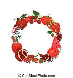 La corona roja de vegetales y frutas de monocromo. Ilustración de vectores sobre fondo blanco.