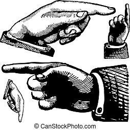 La cosecha del vector señala dedos