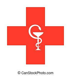 La cruz roja.