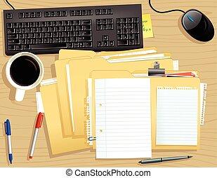 La cubierta de escritorio y un montón de archivos