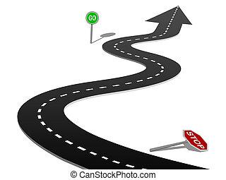 La curva del éxito de la carretera se detiene y firma el progreso